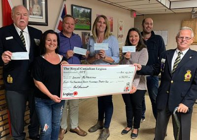 presenting a cheque from the royal canadian legion
